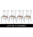 Lot de 4 chaises blanches Shabby Chic, lot 4 chaises, lot chaises blanches