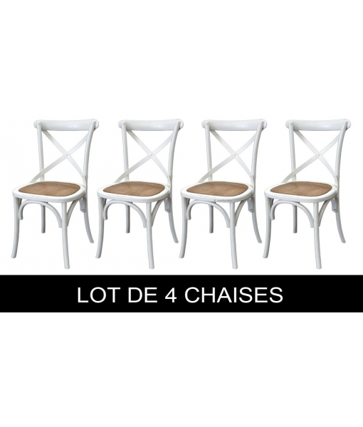 lot de 4 chaises blanches shabby chic lamaisonplus. Black Bedroom Furniture Sets. Home Design Ideas
