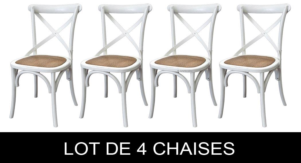 Lot de 4 chaises blanches shabby chic lamaisonplus for Lot de 4 chaises blanches