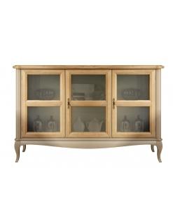 Meuble buffet bas portes vitrées, bahut, meuble buffet bas, buffet portes vitrées, meuble vaisselier, meuble buffet moderne