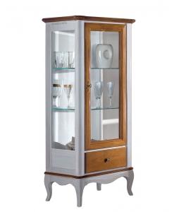 Vitrine bicolore 1 porte, vitrine, meuble vitrine, meuble vitrine 1 porte, meuble vitrine laqué