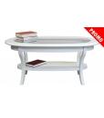 Table basse laquée dessus en verre, table de salon, table basse blanche, promo mobilier