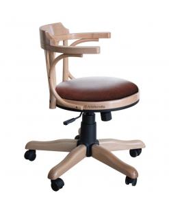 Fauteuil tournant avec roulettes finition naturelle, fauteuil de bureau avec roulettes, fauteuil tournant, finition bois naturel