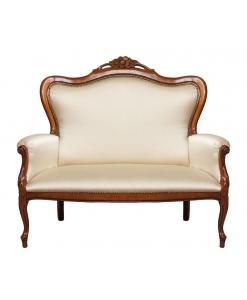 Canapé classique 2 places, canapé style classique, canapé tissu, canapé 2 personnes, canapé classique en bois