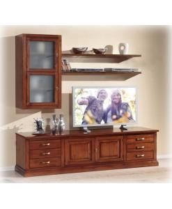 Ensemble mural de salon bois naturel, meubles pour salon, ensembles meubles pour salon, meuble classique en bois pour séjour