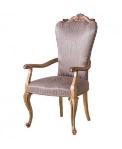 Chaise rembourrée avec accoudoirs, chaise bout de table, chaise rembourrée, chaise confort, chaise en bois naturel, chaise salon, salle à manger