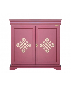 Buffet style Louis Philippe, rouge rubis, meuble buffet 2 portes