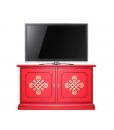 meuble buffet bas qui fait fonction de meuble tv, meuble tv laqué rouge, meuble bas en bois laqué rouge