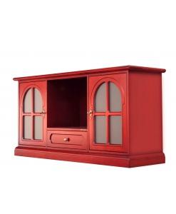 Meuble TV 130 cm , meuble Tv, meuble rouge, meuble pour télévision, meuble tv, meuble tv bois