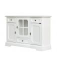 Meuble buffet largeur 130 cm, meuble buffet bas, meuble tv en bois laqué, meuble buffet laqué blanc