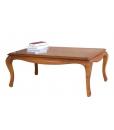 Table de salon avec tirettes, table basse de salon, table de salon en bois, table basse merisier, table de salon merisier