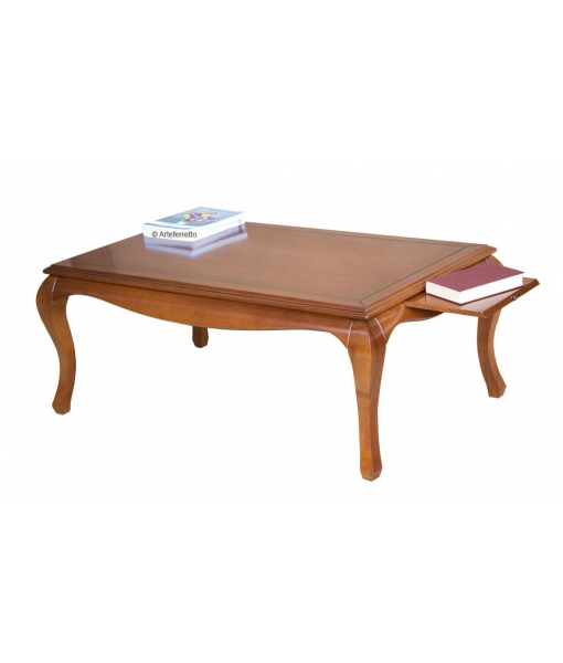 Table de salon avec tirettes, table de salon, table basse merisier, table de salon bois, table basse rectangulaire, table basse de salon classique en bois couleur merisier