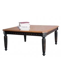 Table basse noir et merisier, table basse noire, table basse carrée