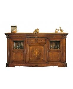 Meuble buffet enfilade 220 cm, meuble haut de gamme, meuble buffet classique design italien, meuble buffet bois massif, meuble buffet bahut enfilade