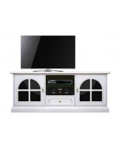 Meuble TV avec plexiglass noir, meuble tv blanc, meuble tv en bois, meuble tv blanc laqué, meuble tv 150 cm