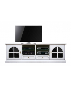 Meuble banc TV 200 cm noir et blanc, meuble tv, meuble tv 2 mètres, meuble tv 200 cm