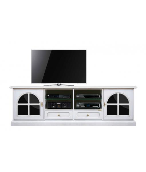 Meuble banc TV 200 cm noir et blanc réf. 4010-TG-Plex