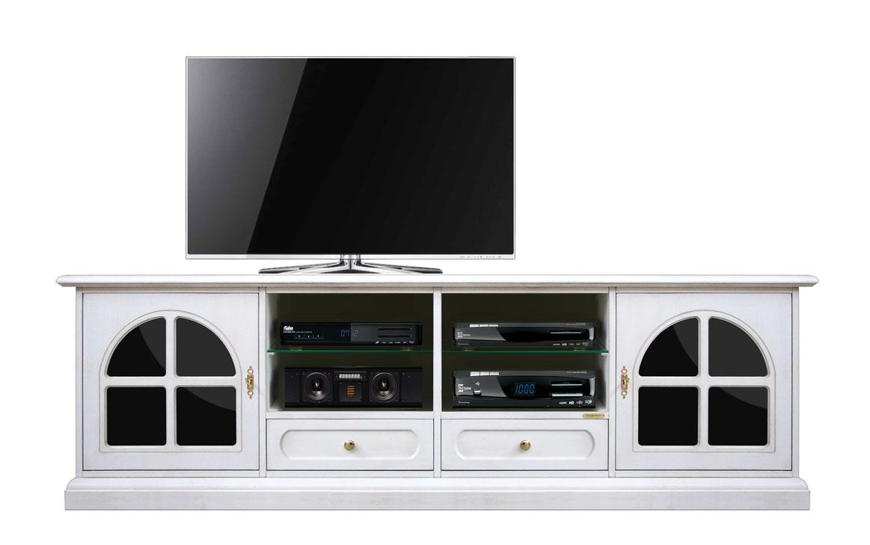 Meuble Banc Tv 200 Cm Noir Et Blanc Lamaisonplus # Meuble Tv Avec Fond
