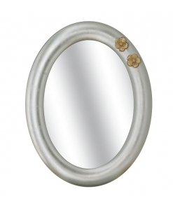 Miroir ovale avec fleurs en feuille d'or