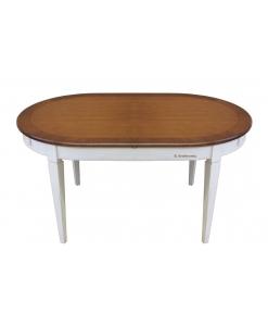 Table prolongeable bicolore 160 cm, table ovale, table ovale à rallonges, table ovale prolongeable, table bicolore