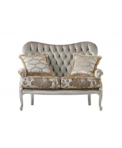 Canapé 2 places avec coussins, canapé deux places, canapé hall d'accueil, canapé salle d'attente, canapé classique en bois massif 2 places