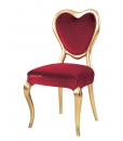 Chaise dossier cœur, chaise, chaise rouge, chaise romantique, chaise velours rouge