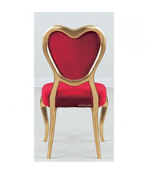 Chaise dossier cœur, chaise saint valentin, chaise romantique, chaise feuille d'or, velours rouge