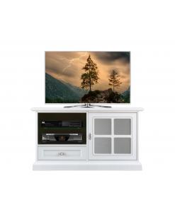 Meuble TV taille moyenne avec porte vitrée, meuble tv 1 porte, meuble tv porte et tiroir, meuble tv laqué blanc, arteferretto