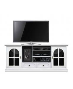 Meuble tv 160 cm largeur noir et blanc avec plexiglas