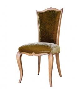 Chaise classique dossier haut bois et tissu