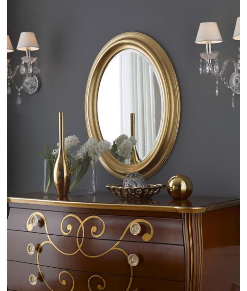 Miroir oval en bois massif