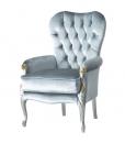 Fauteuil rembourré et capitonné, fauteuil bleu