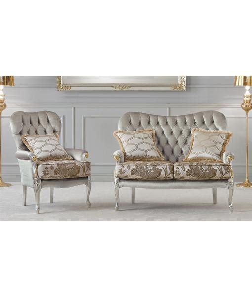Fauteuil rembourré et capitonné, fauteuil et canapé pour salon, fauteuil et canapé assorti