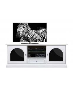 Meuble tv bois blanc et plexiglas noir