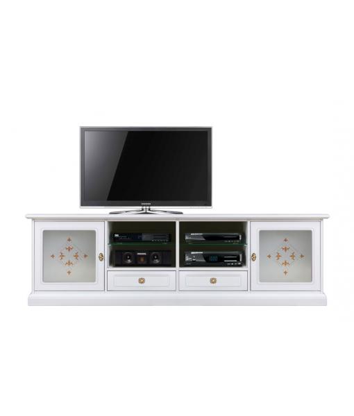 Meuble banc TV 200 cm vitre décorée, meuble tv grande taille, meuble tv blanc, meuble tv en bois laquée