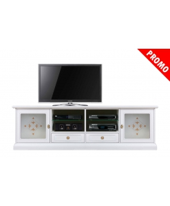 Meuble banc TV 200 cm vitre décorée, meuble tv laqué blanc, meuble tv 200 cm, meuble tv en bois laqué blanc