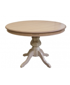 Table ronde 120 cm finition bois naturel, table à manger design, table style contemporain, table à rallonge, table ronde, table couleur bois naturel