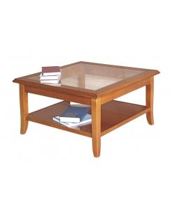 table basse de salon, table basse carrée, table de salon 80x80 cm, table basse de style classique en bois