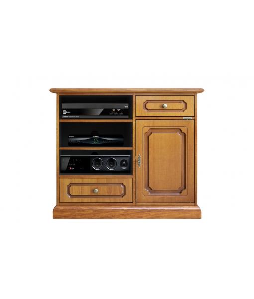 Meuble tv haut en bois finition noyer clair réf. 3056-S-promo