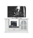 Meuble TV avec étagères et rayonnage latéral, meuble tv taille moyenne, meuble tv laqué blanc