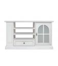Meuble TV avec étagères et rayonnage latéral, meuble tv porte vitrée, meuble style classique, meuble tv classique
