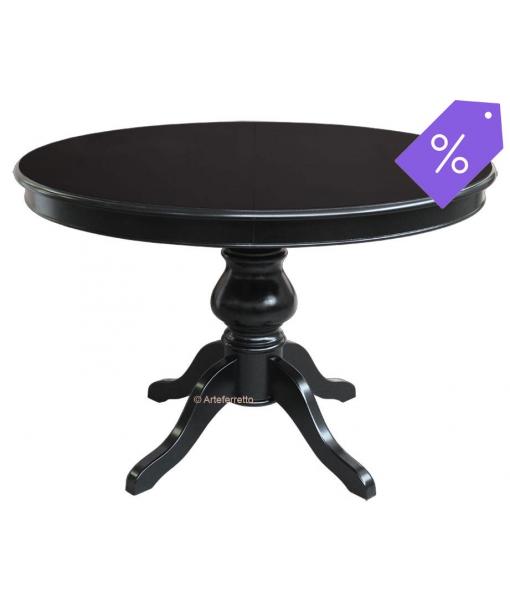 PROMO ! Table ronde noire avec rallonge - diamètre 110 cm réf. 446-N-110