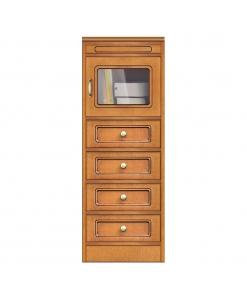 Meuble petite taille 1 porte 4 tiroirs, meuble multifonction de petite taille en bois style classique