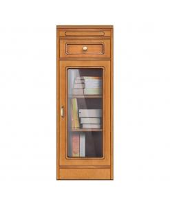 Petite vitrine avec tiroir, vitrine modulaire basse, vitrine étroite, vitrine petite taille en bois style classique