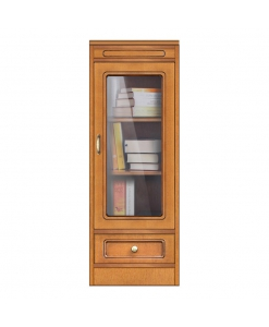 Vitrine petite taille 1 tiroir, meuble vitrine petite dimension style classique en bois