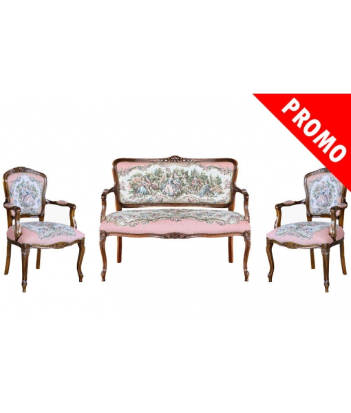 Ensemble canapé et 2 fauteuils réf. GM-Romj-promo