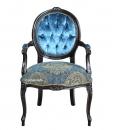 Fauteuil médaillon noir vieilli, fauteuil classique noir, arteferretto, fabricant chaises et fauteuils