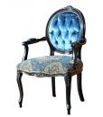 Fauteuil médaillon noir vieilli, fauteuil classique, fauteuil noir, fauteuil velours bleu