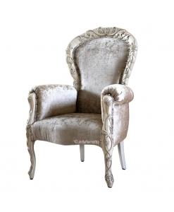 Fauteuil classique rembourré et sculpté, fauteuil classique tissu, fauteuil laqué, fauteuil vieilli, fauteuil design italien