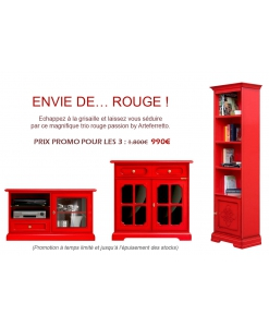 PROMO ROUGE - Trio meubles en finition rouge